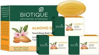Biotique Advanced Ayurveda   BIOTIQUE Bio Almond Oil Nourishing Body Soap  (3 x 75 g)*2