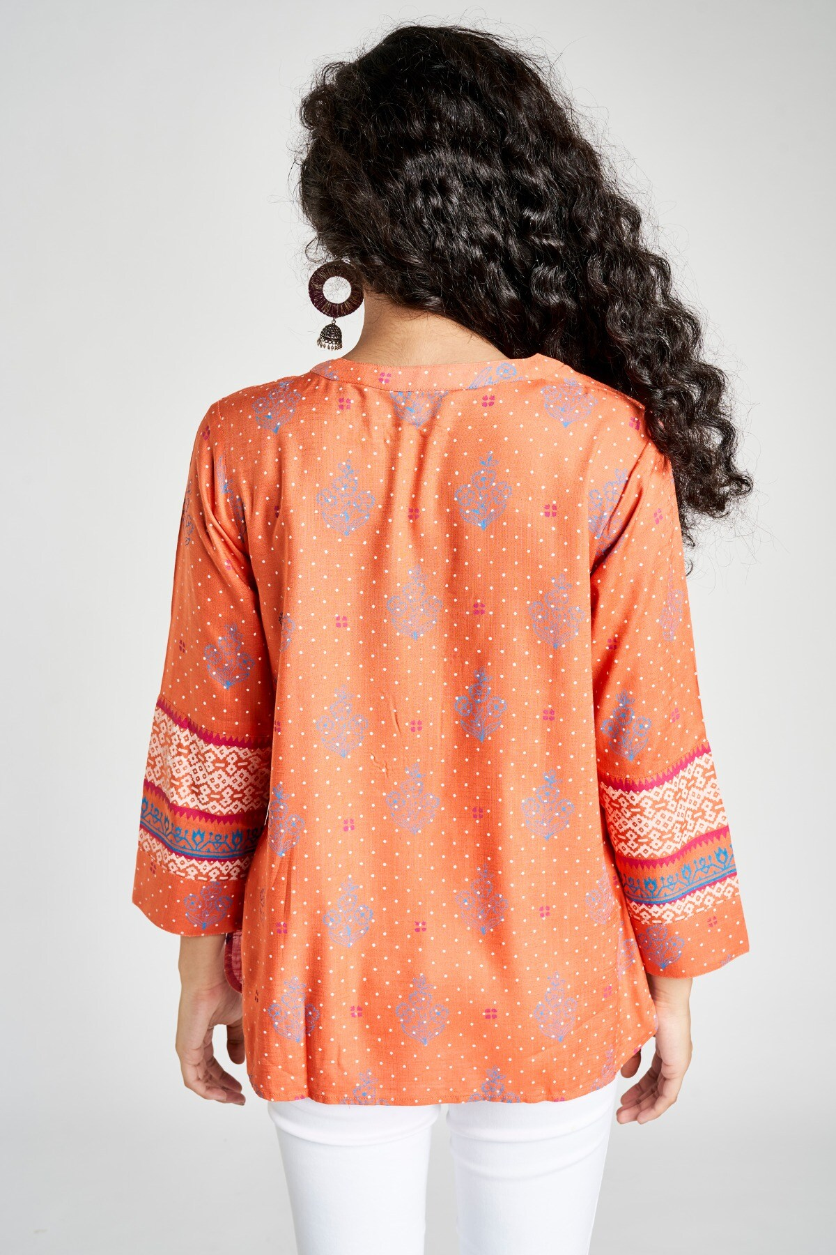 Global Desi | Sustainable Coral Floral Round Neck A-Line Top