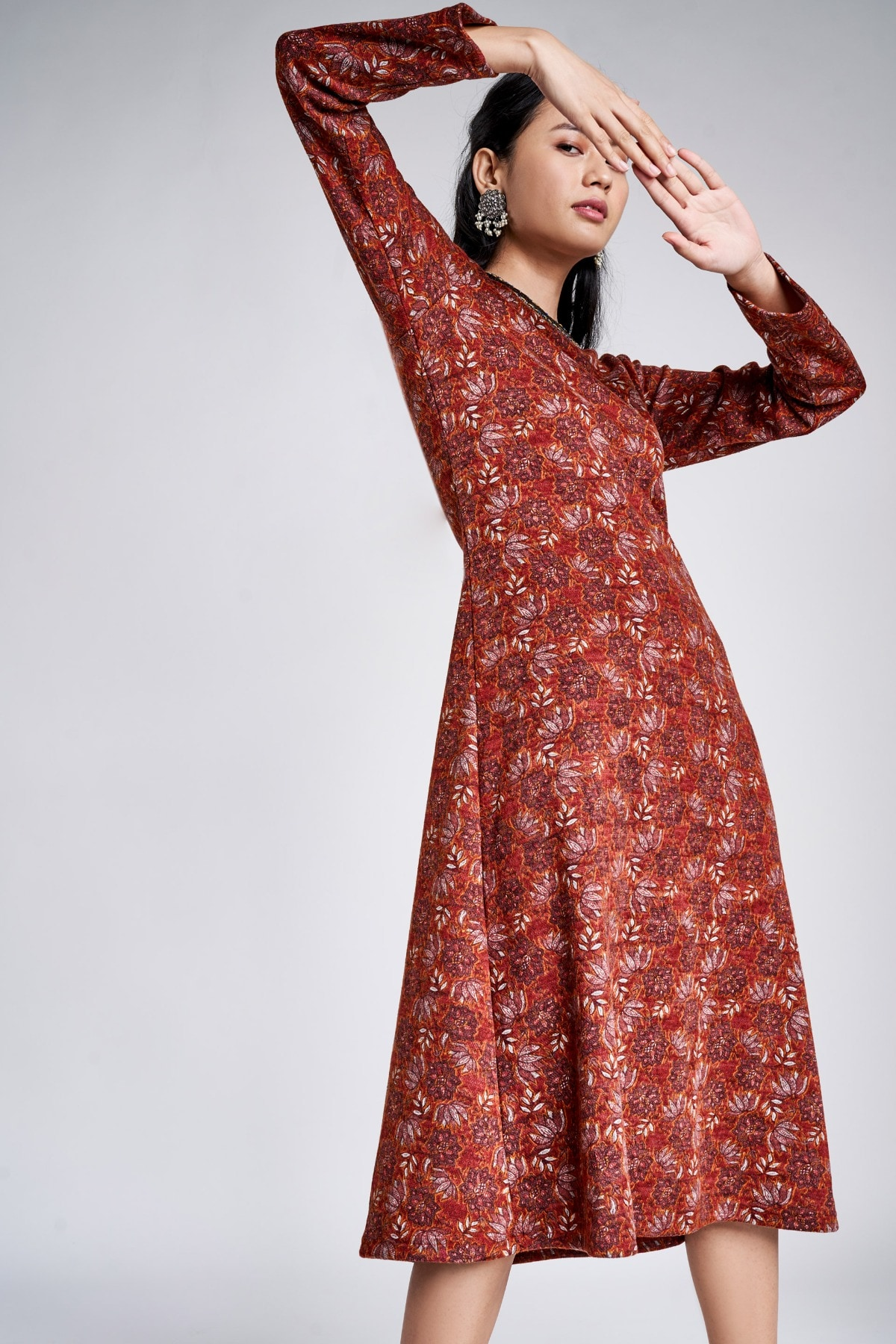 Global Desi | Rust Floral Embroidered Fit and Flare Dress
