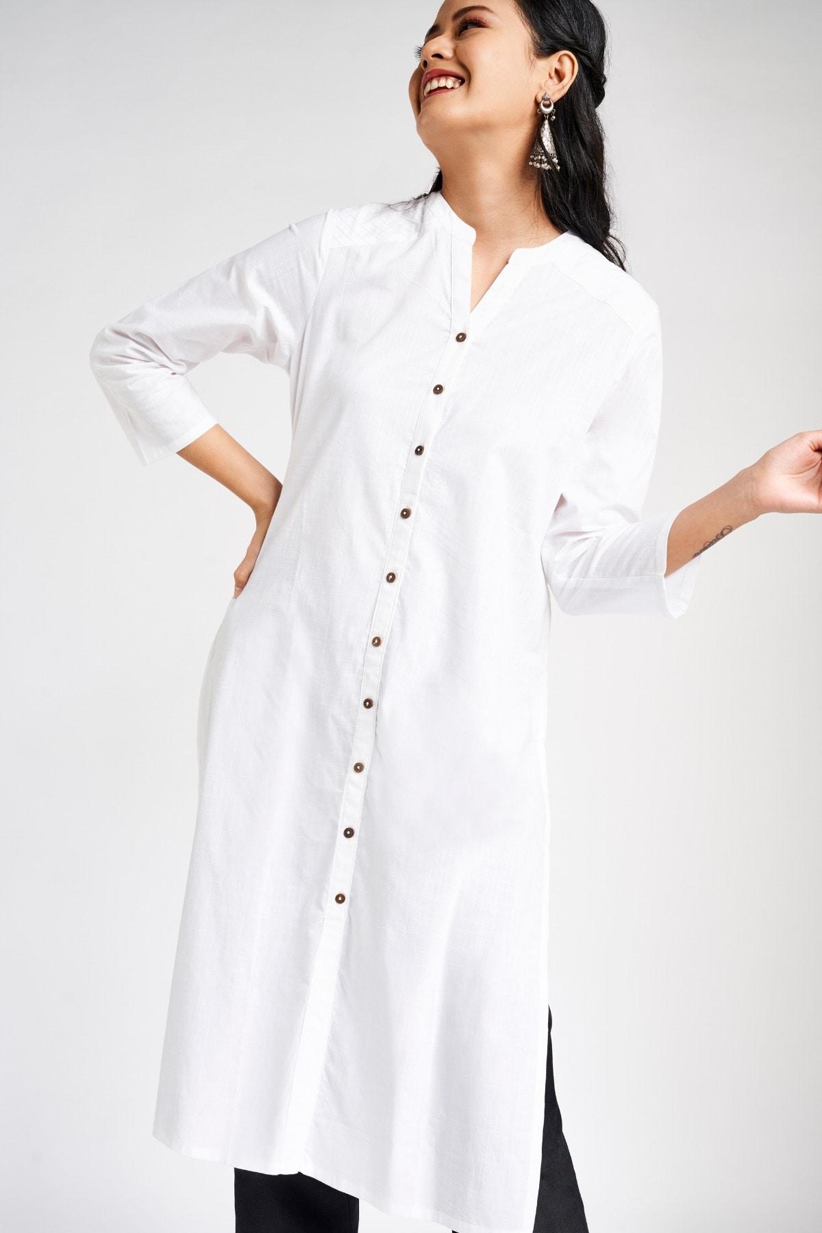 Global Desi | White Mandarin Collar A-Line Midi Kurta