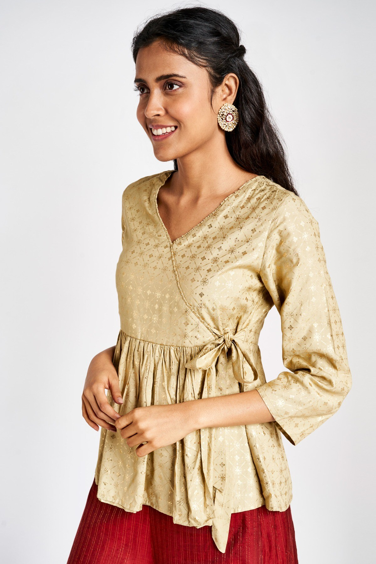 Global Desi | Sustainable Beige Embroidered V-Neck Top