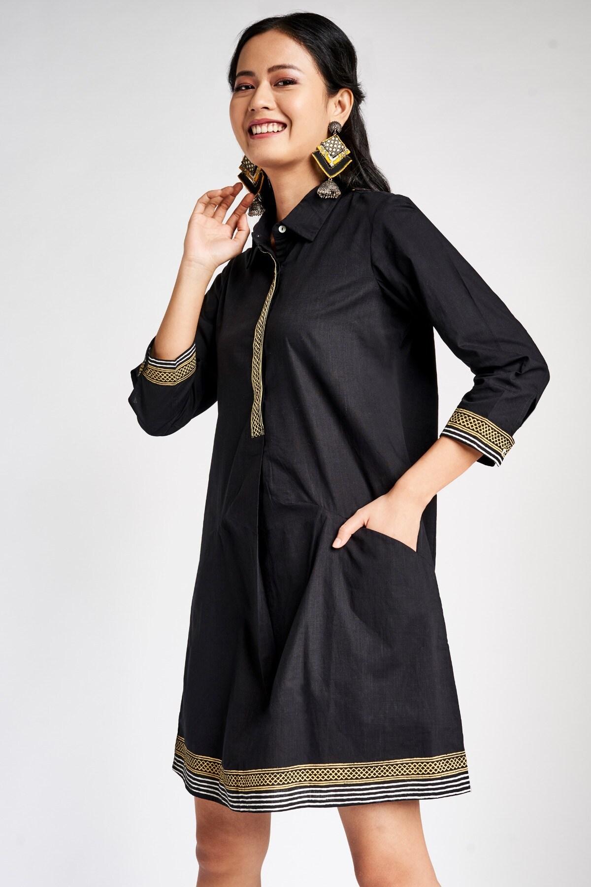 Global Desi   Black Geometric Print Mandarin Collar A-Line Dress