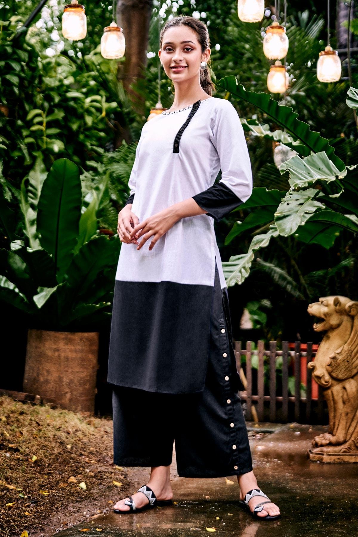 Global Desi | Black Colourblocked Round Neck A-Line Midi Kurta