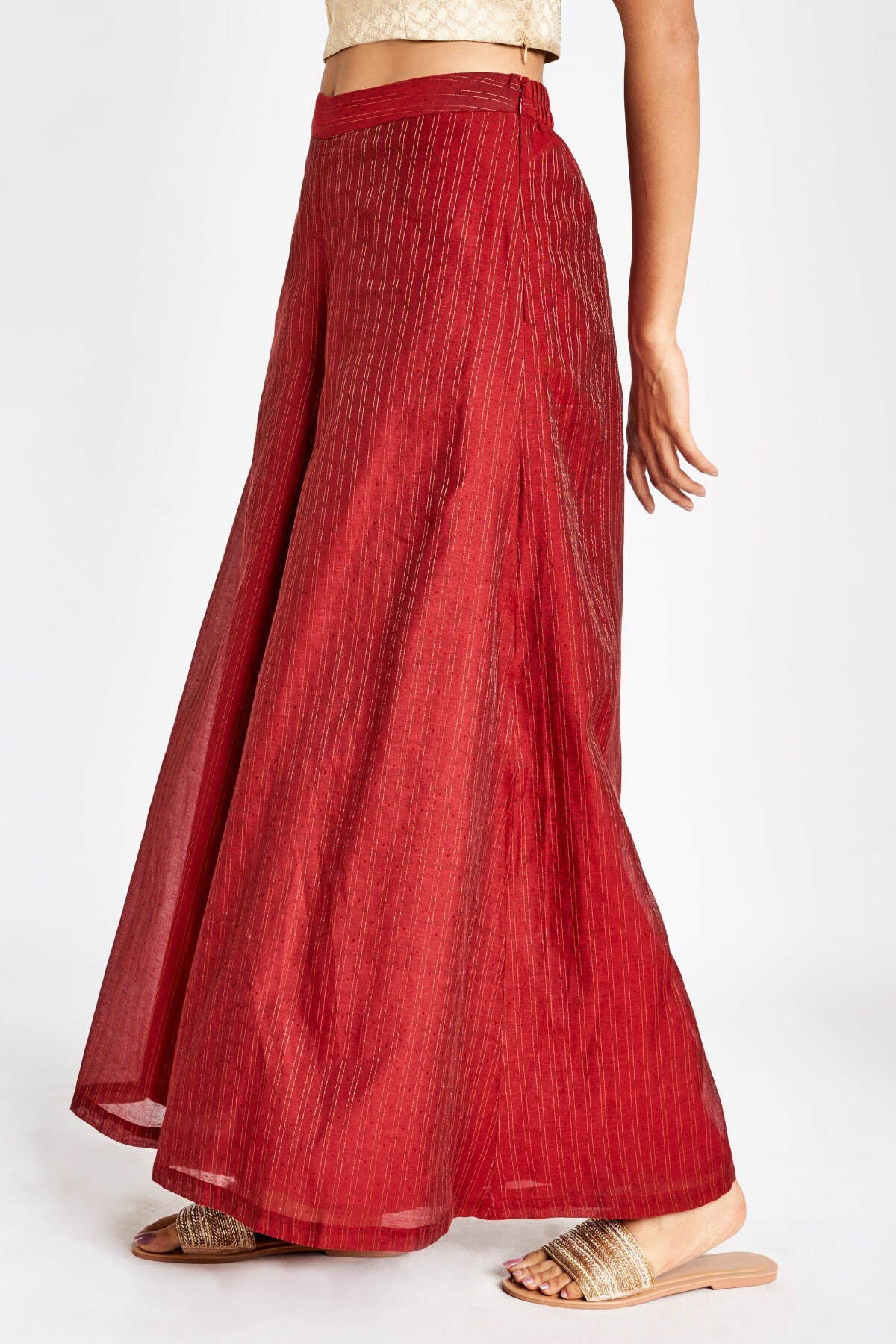 Global Desi   Sustainable Red Self Design Cut-Out Longline Sharara