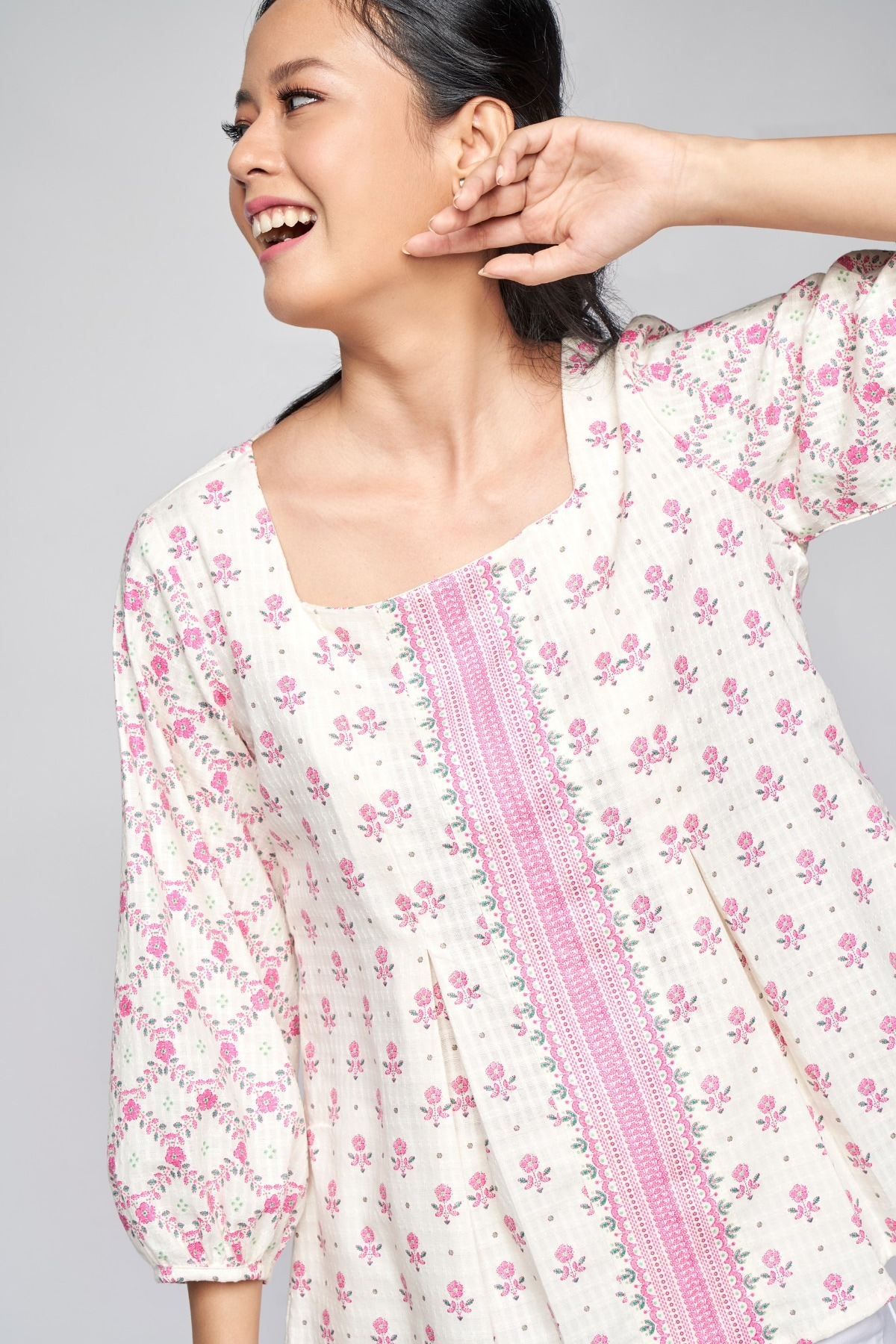 Global Desi | Pink Gathers or Pleats Straight Top