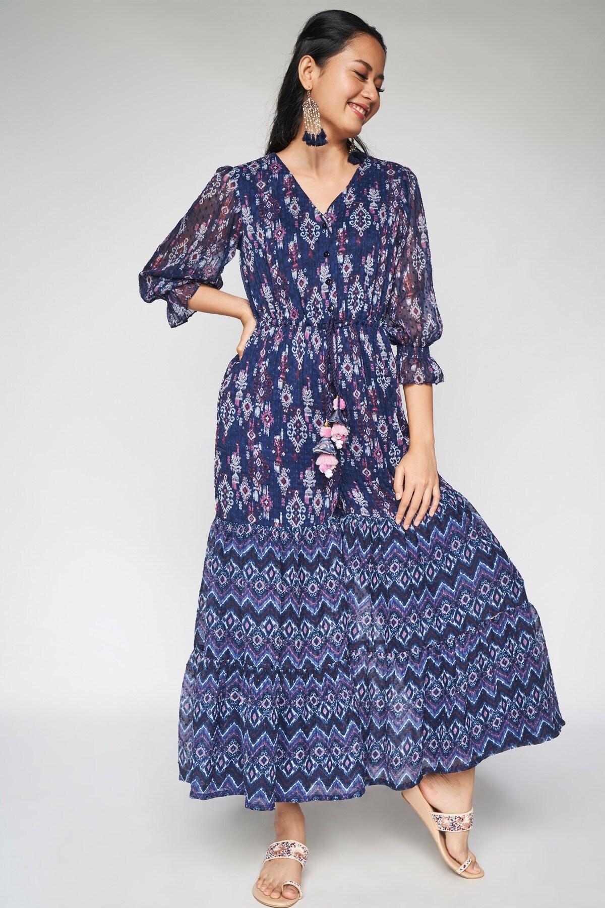 Global Desi   Indigo Tassel Fit and Flare Jumpsuit