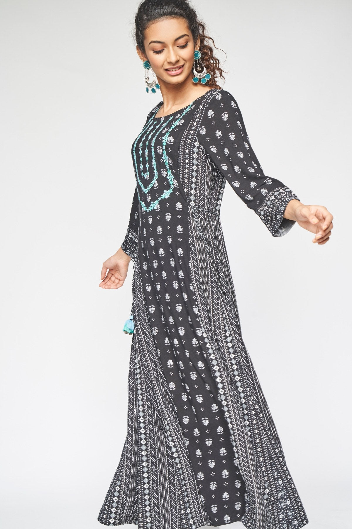 Global Desi | Black Embroidered Fit and Flare Kurta