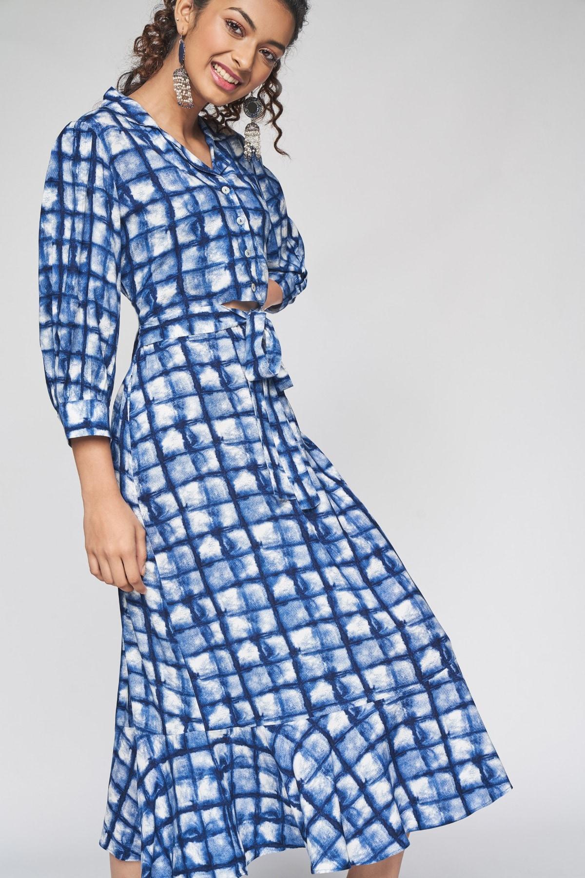 Global Desi   Indigo Tie-Ups  Printed Fit and Flare Dress