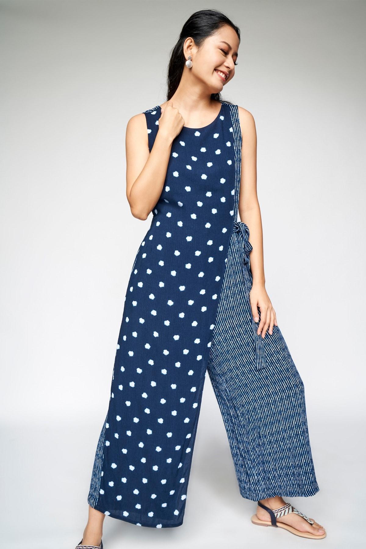 Global Desi   Indigo Tie-Ups Straight Jumpsuit