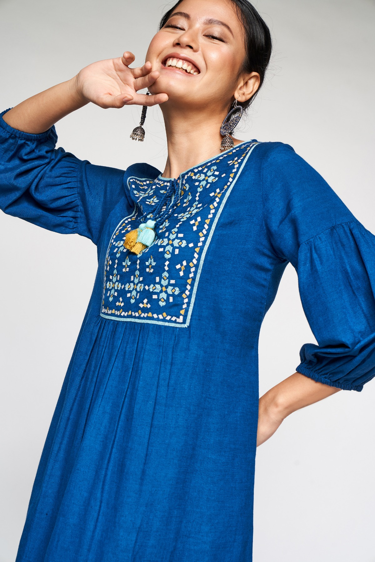 Global Desi | Midnight Blue Embroidered Fit and Flare Dress