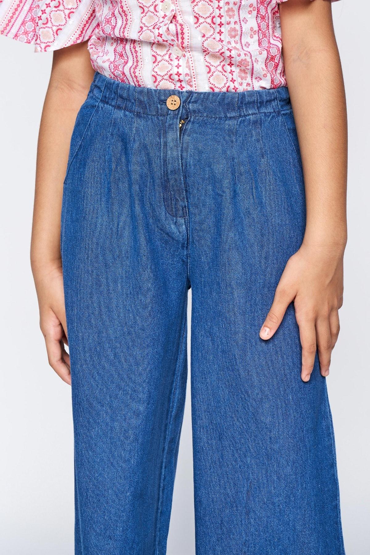 Global Desi | Blue Embroidered Curved Bottom