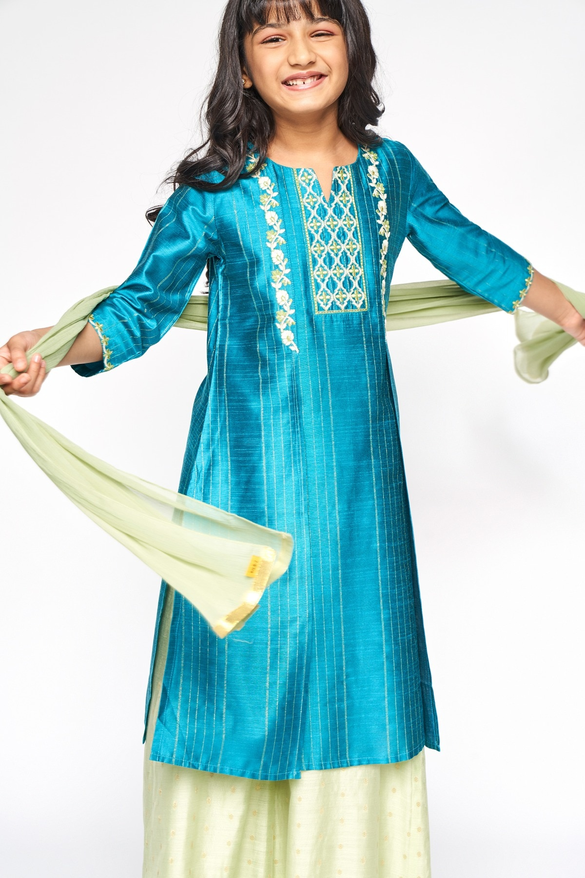 Global Desi | Peacock Embroidered Straight Suit