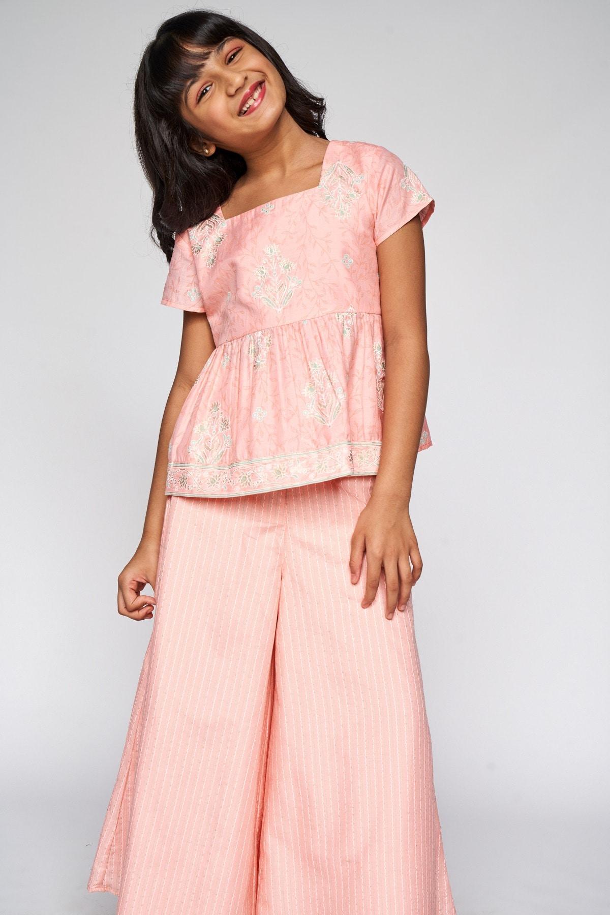 Global Desi | Pink Floral Peplum Suit