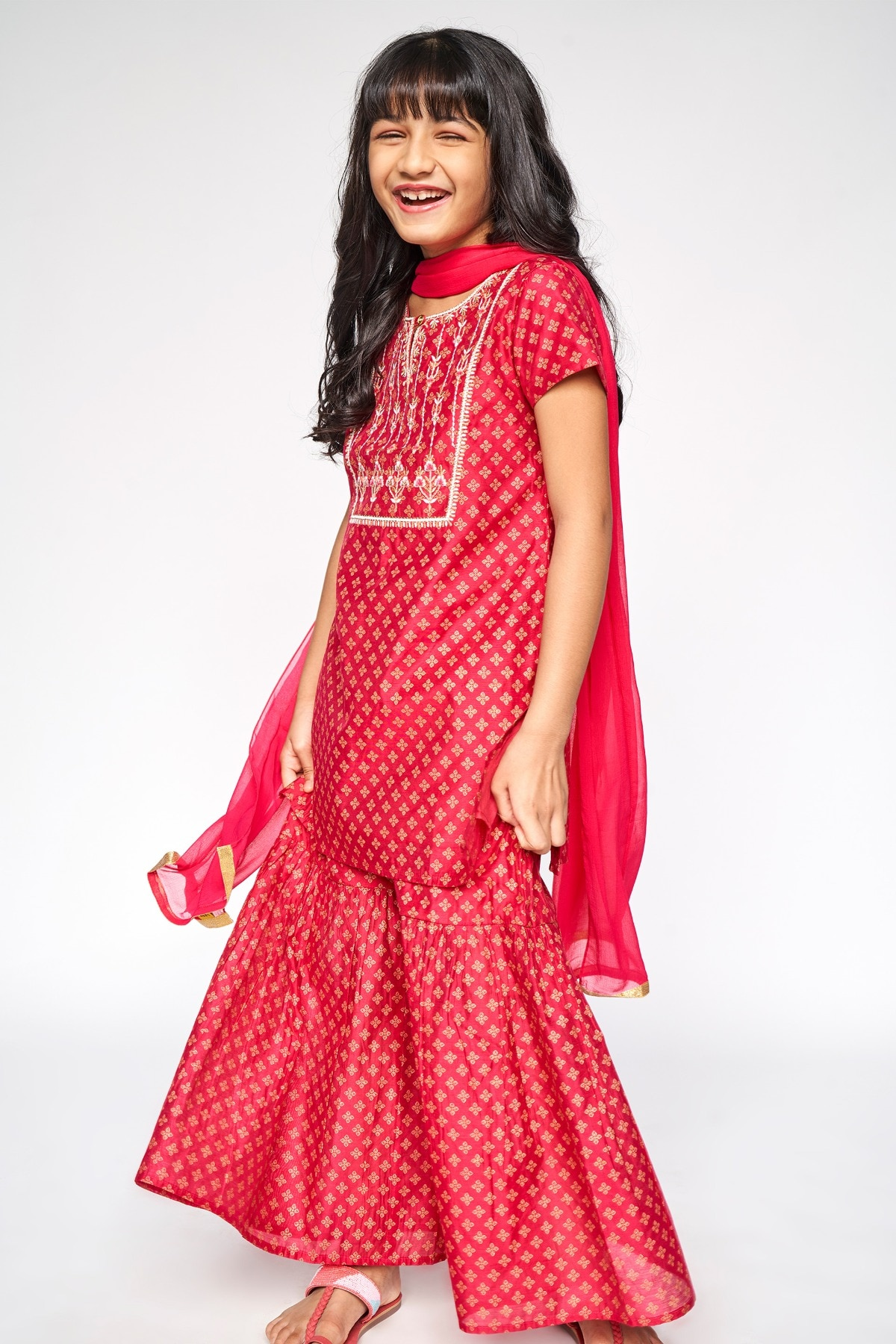 Global Desi | Hot Pink Embroidered Straight Suit