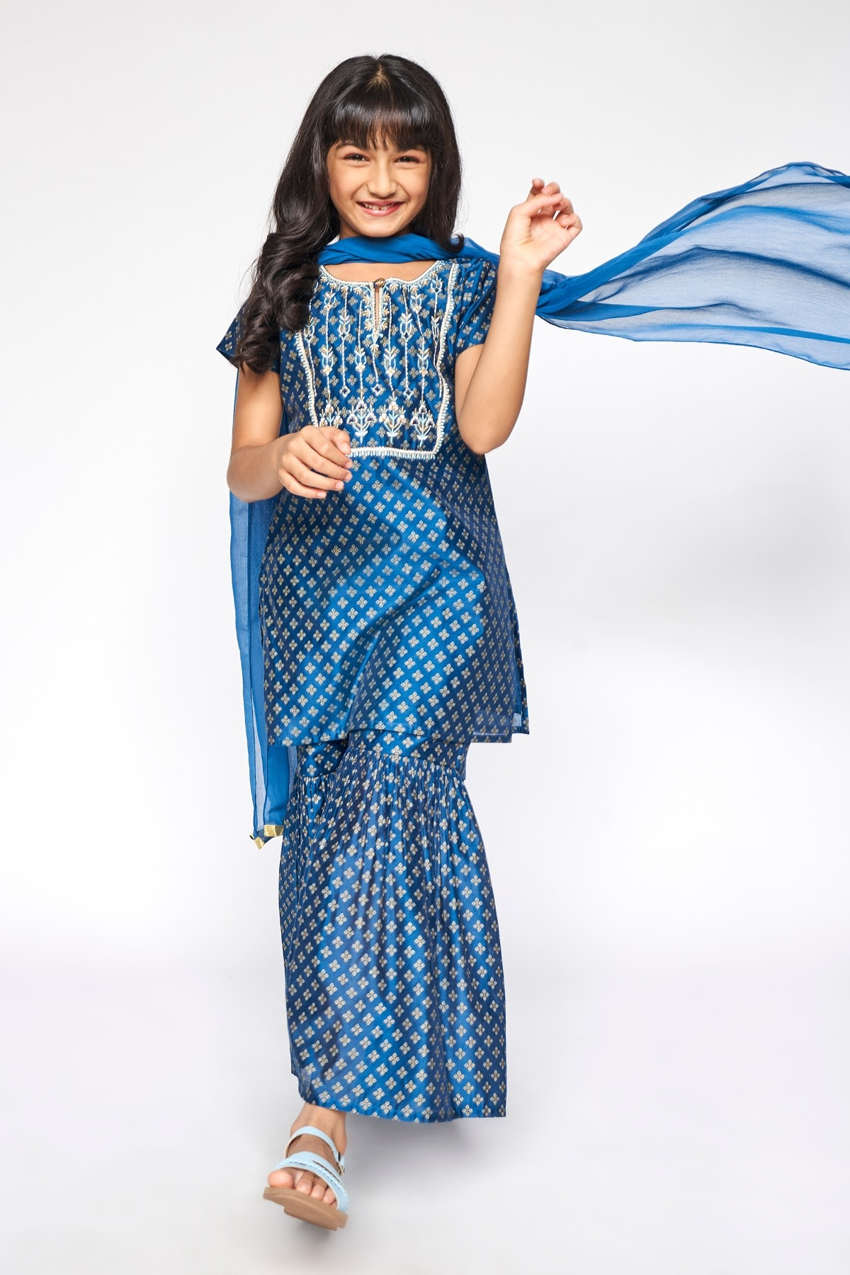 Global Desi | Midnight Blue Embroidered Straight Suit