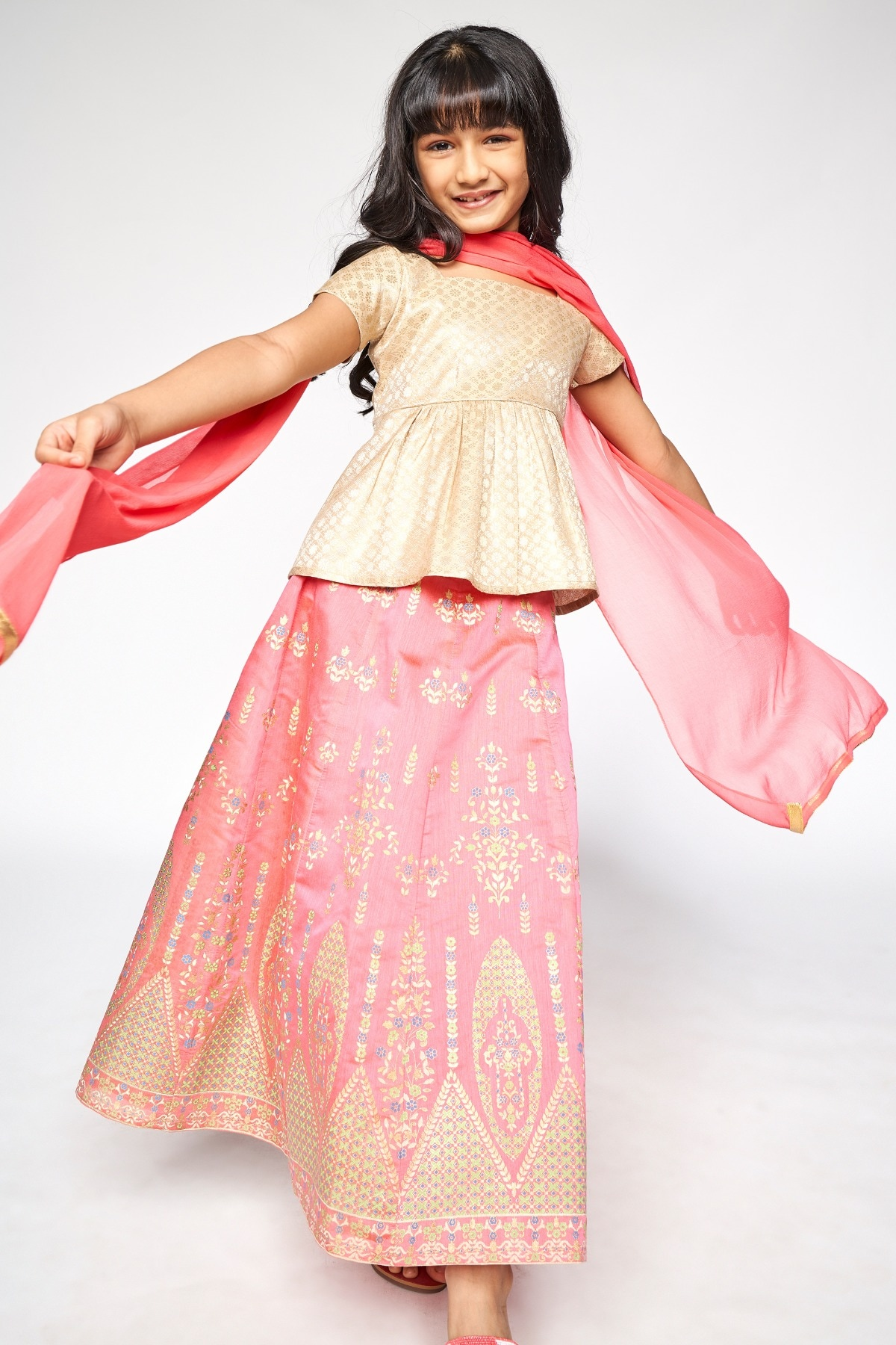 Global Desi | Pink Embroidered Straight Suit