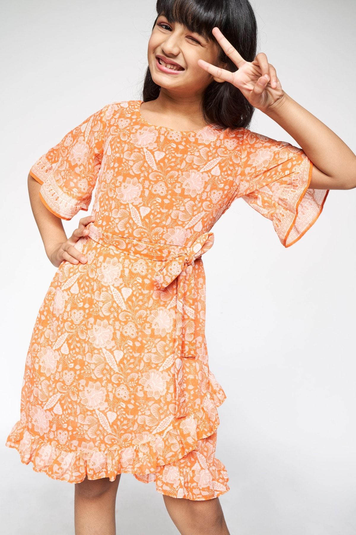 Global Desi | Orange Ruffles Fit and Flare Dress