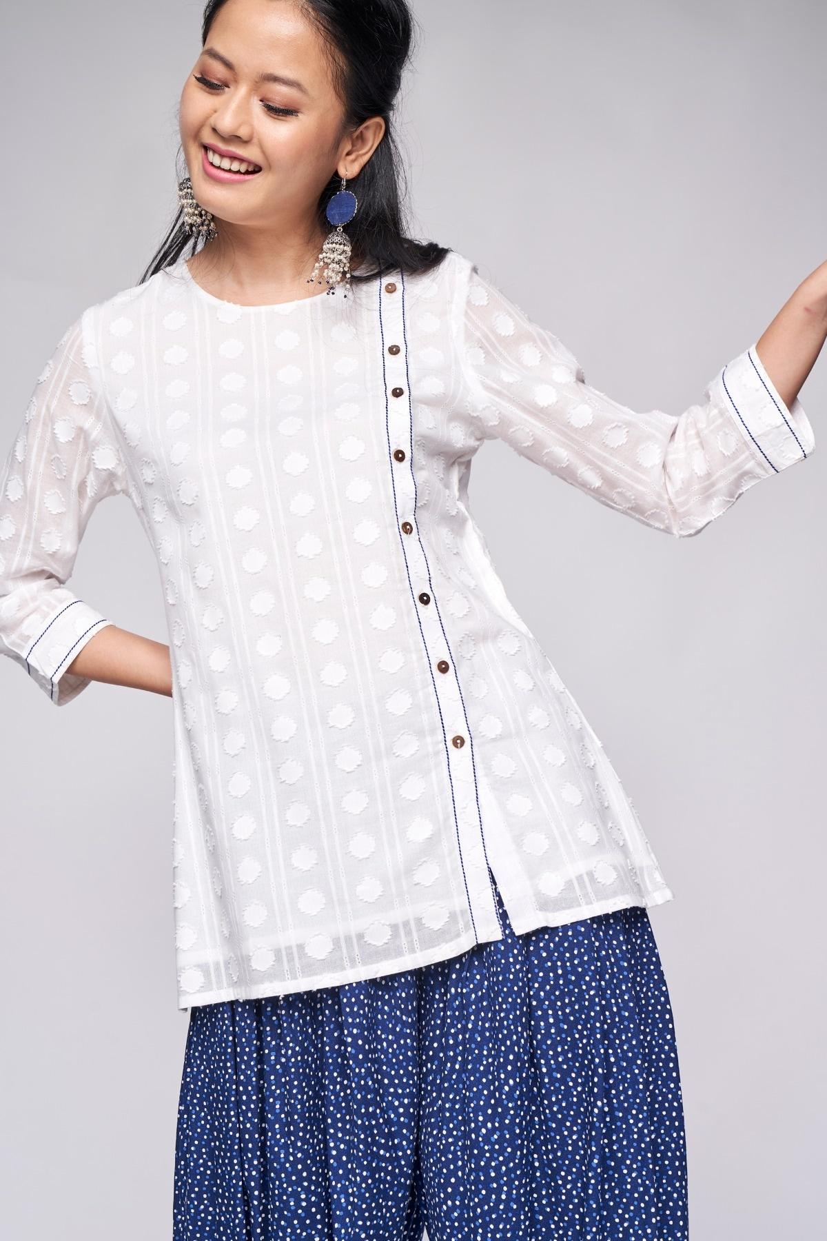 Global Desi | White Embellished A-Line Top
