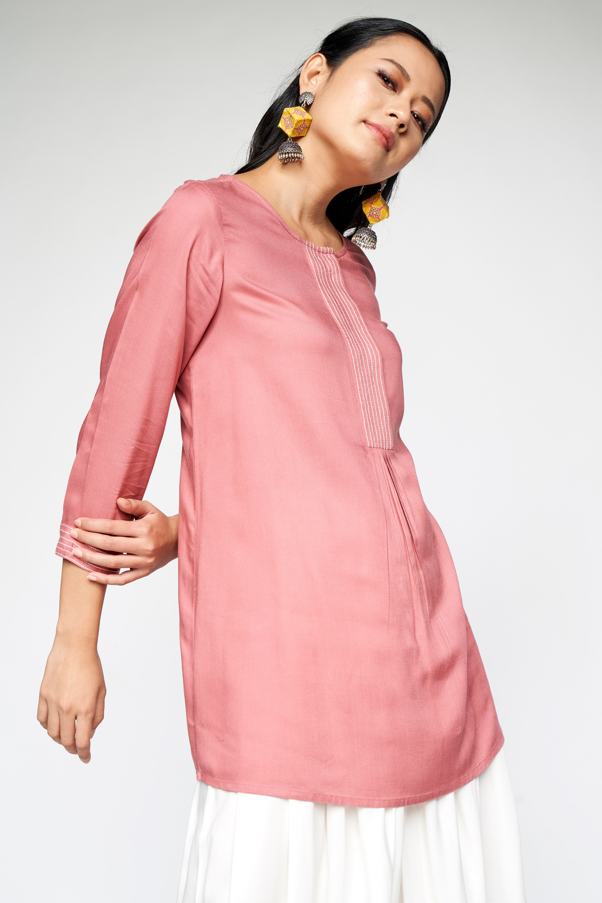 Global Desi | Rose Pink Gathers or Pleats Straight Top