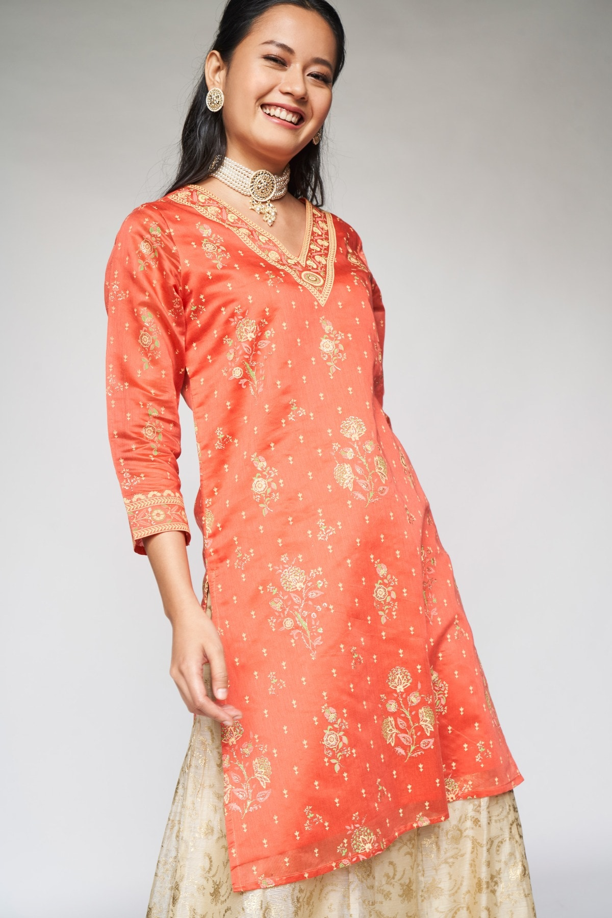 Global Desi | Orange Ethnic Motifs Straight Kurta