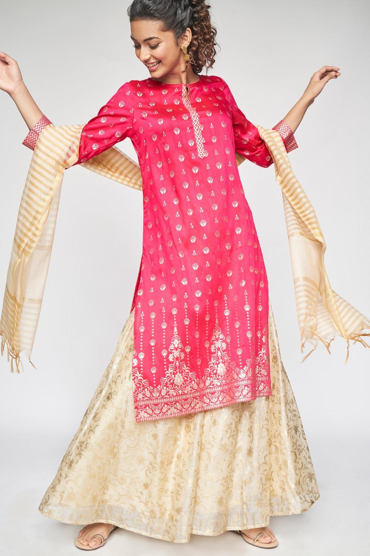Global Desi | Hot Pink Ethnic Motifs Straight Kurta