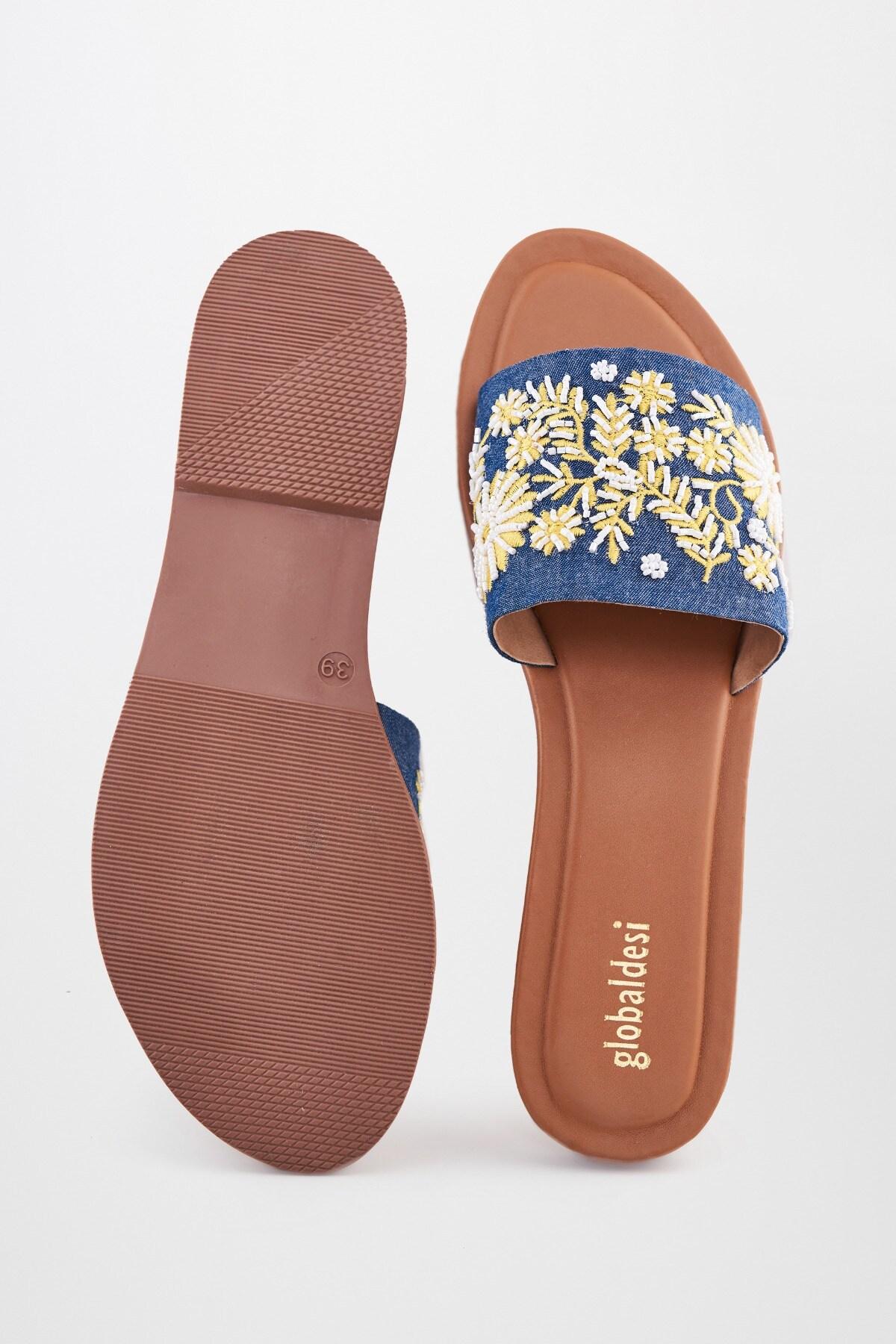 Global Desi | Denim Embroidered Flats