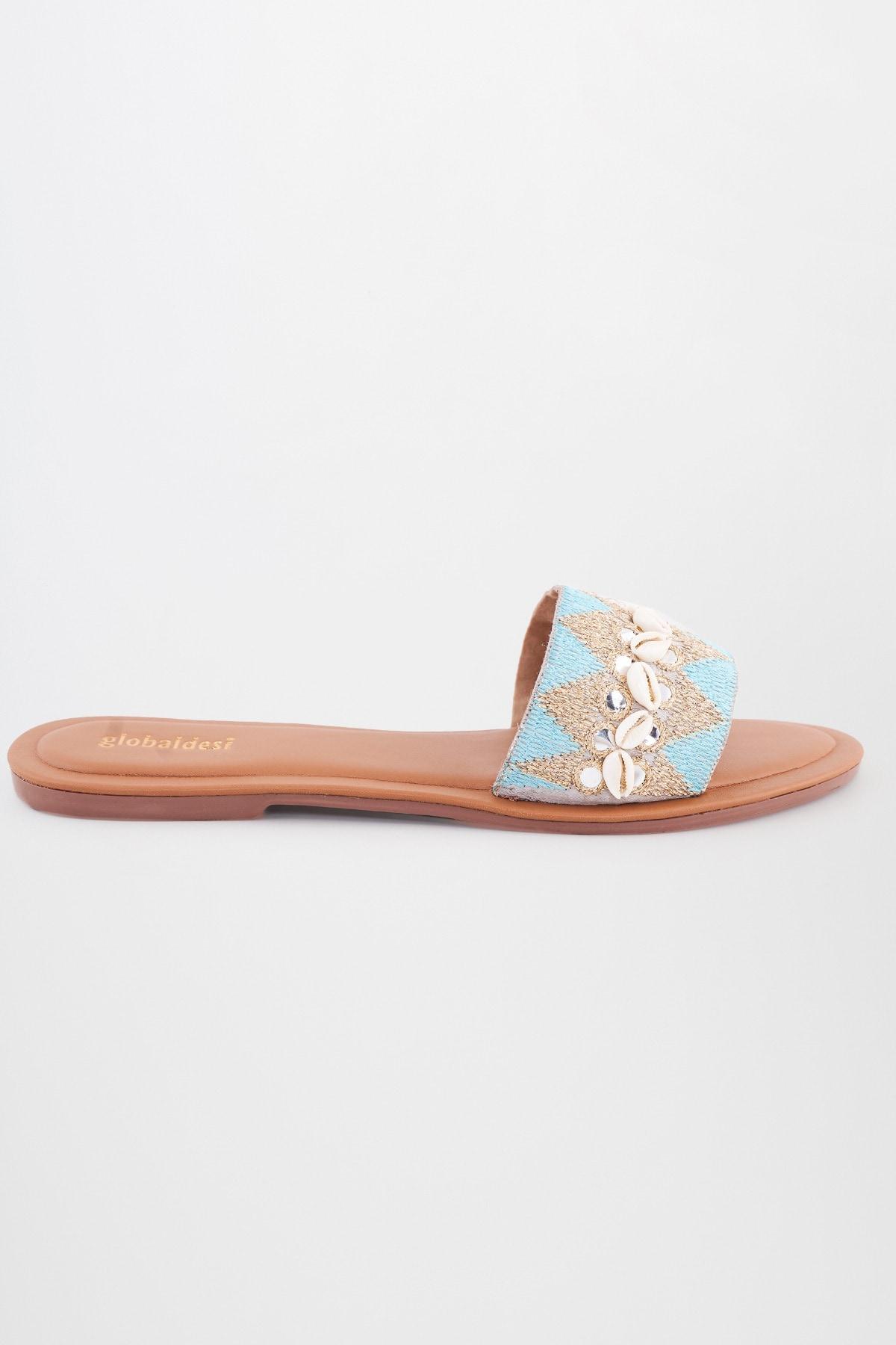 Global Desi | Blue Embroidered Flats