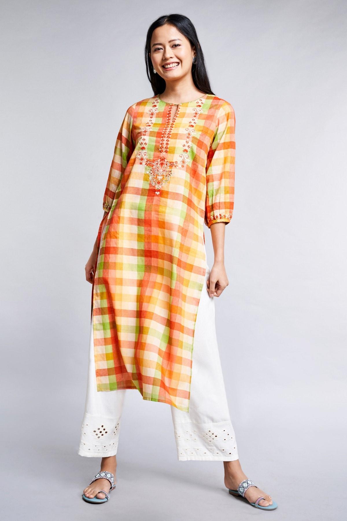 Global Desi | Orange Embroidered Round Neck A-Line Kurta