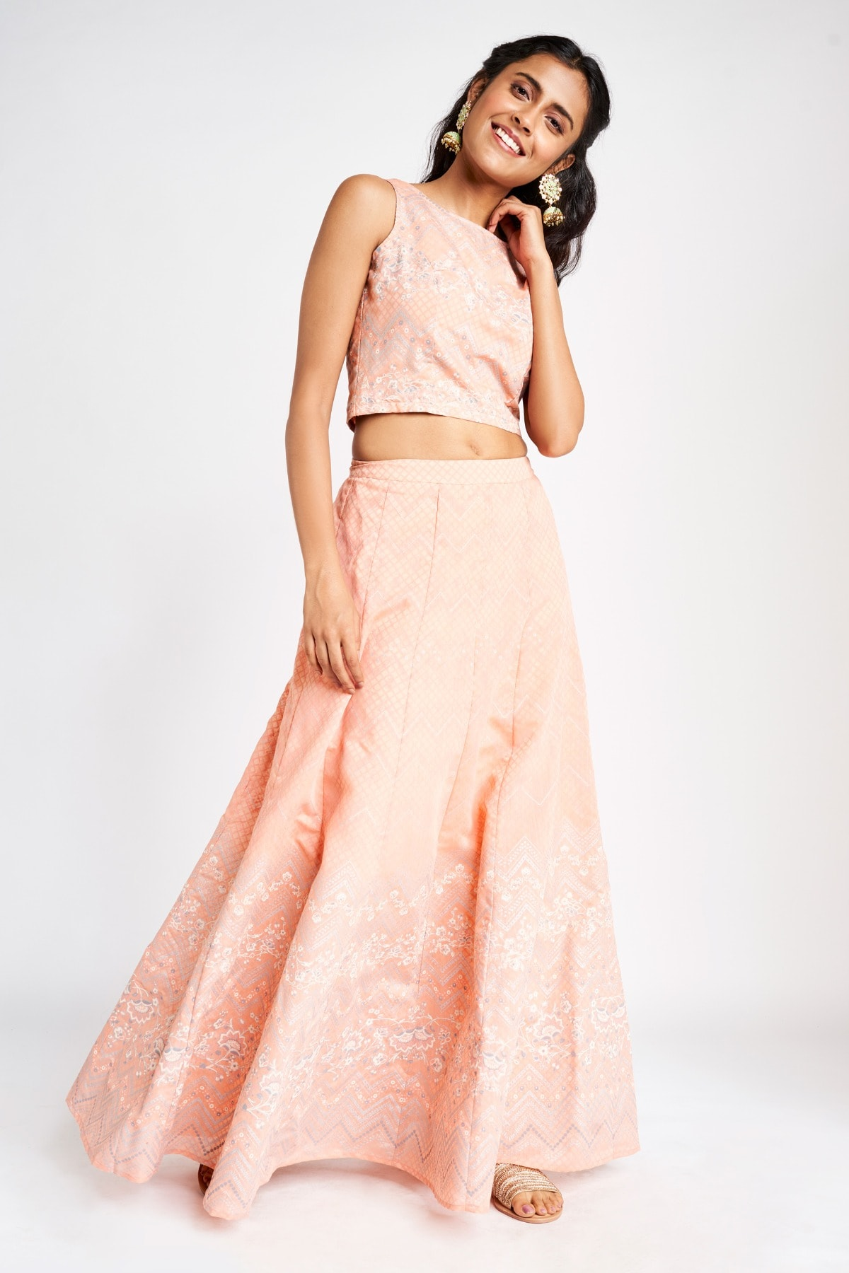 Global Desi | Peach Fit and Flare Maxi Two Piece Set
