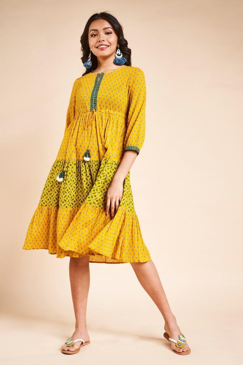 Global Desi | Mustard Floral Round Neck Knee Length Dress