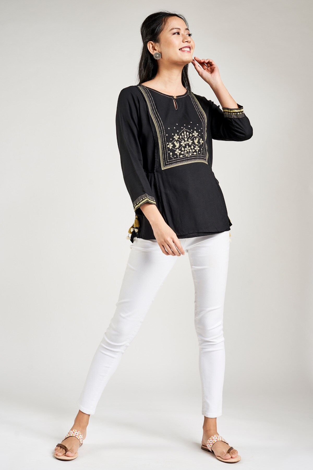 Global Desi | Sustainable Black Floral Printed A-Line Top
