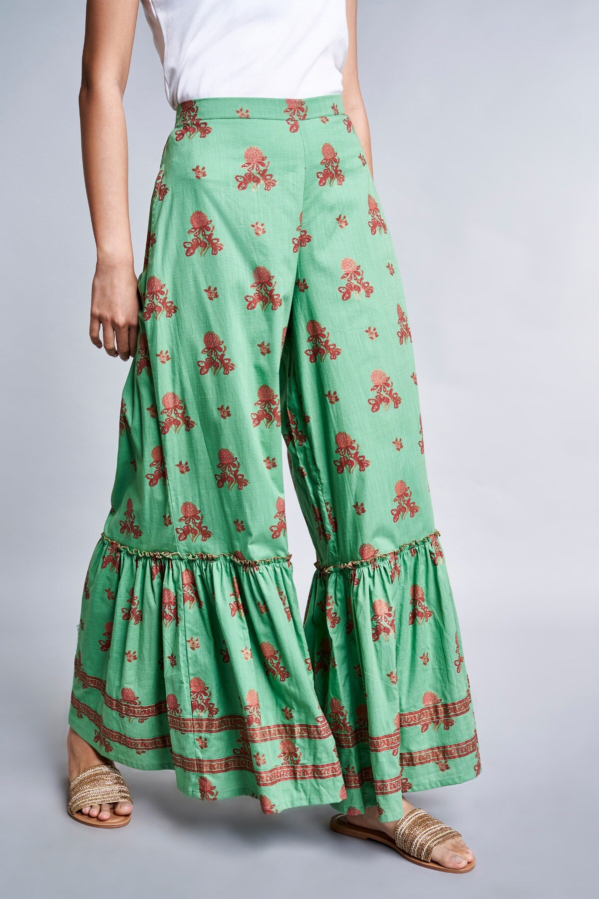 Global Desi | Mint Floral Pleated Sharara
