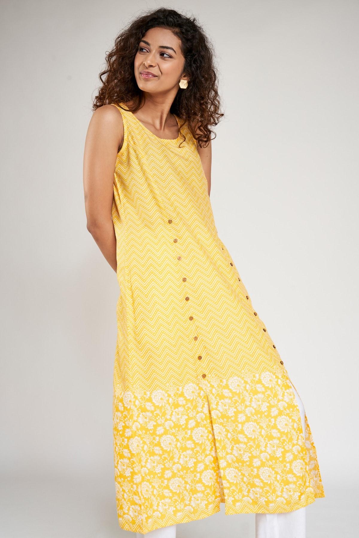Global Desi | Yellow Floral Printed Kurta