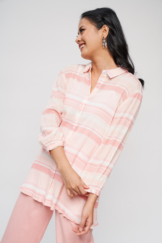 Global Desi | Pink Striped Shirtes Top