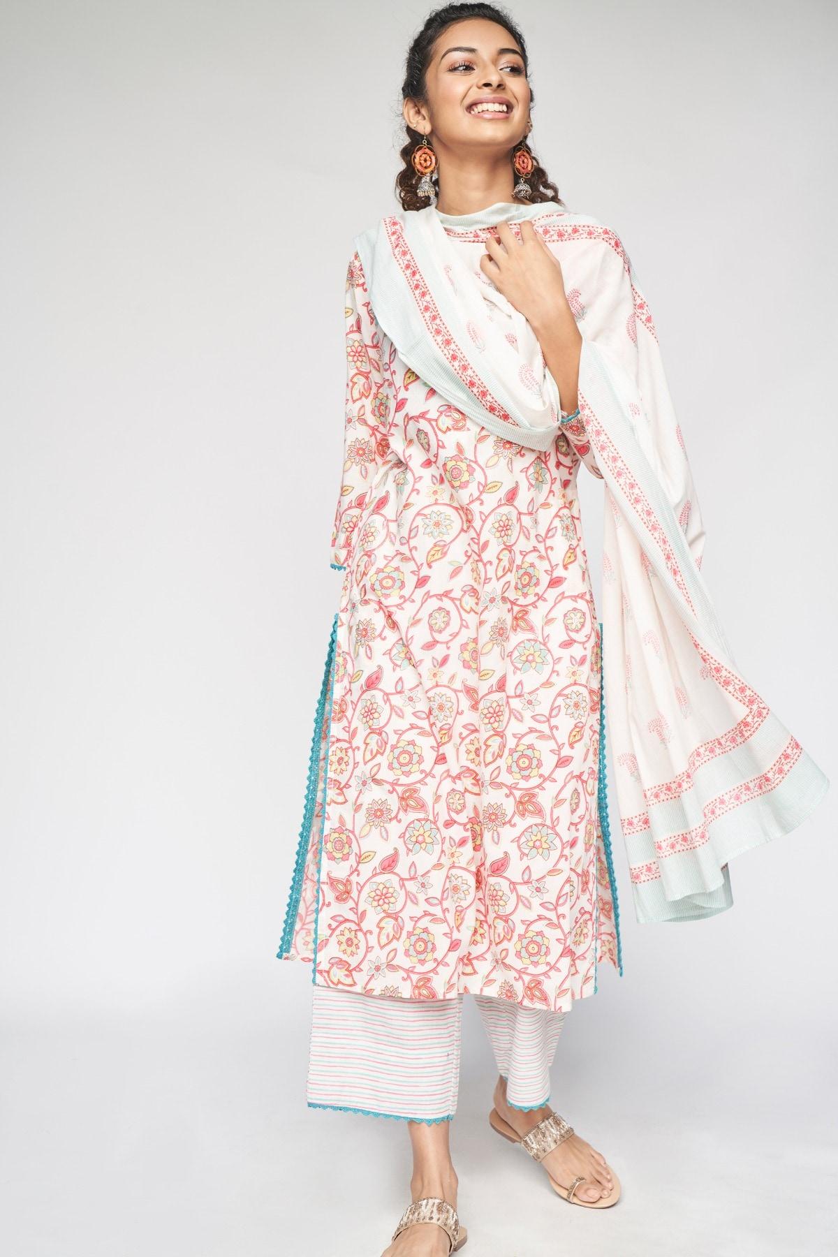 Global Desi | Pink Printed Wide-Leg  Lace Set