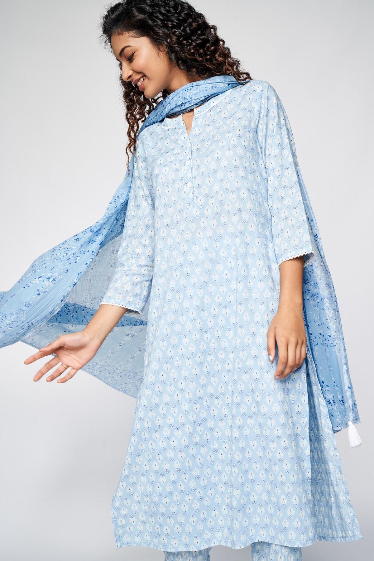 Global Desi   Blue Floral Printed Lace Set