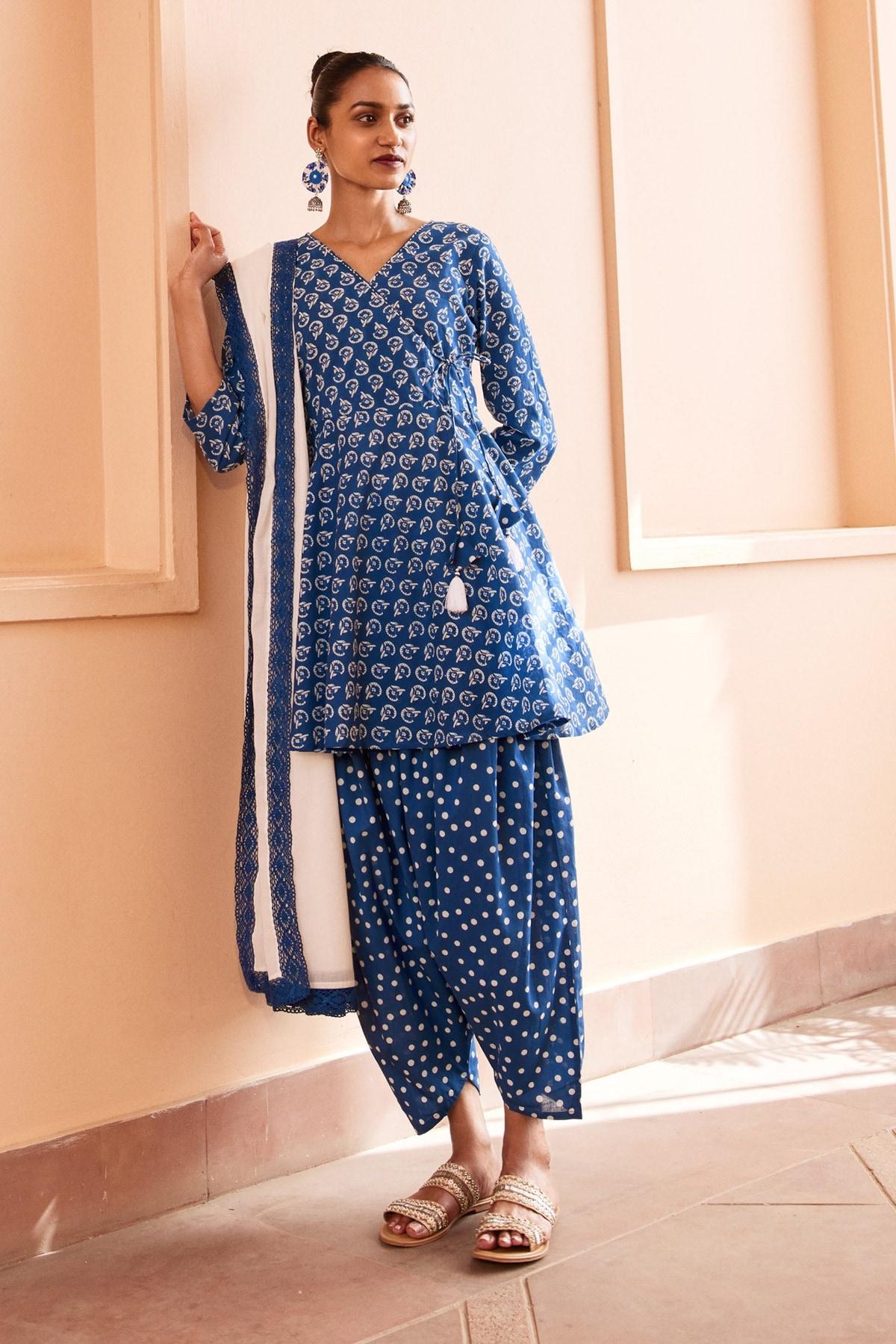 Global Desi | Blue Floral Printed Flared Set