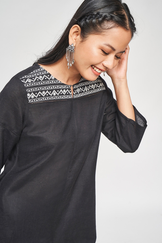 Global Desi | Black Solid Embroidered Kurta