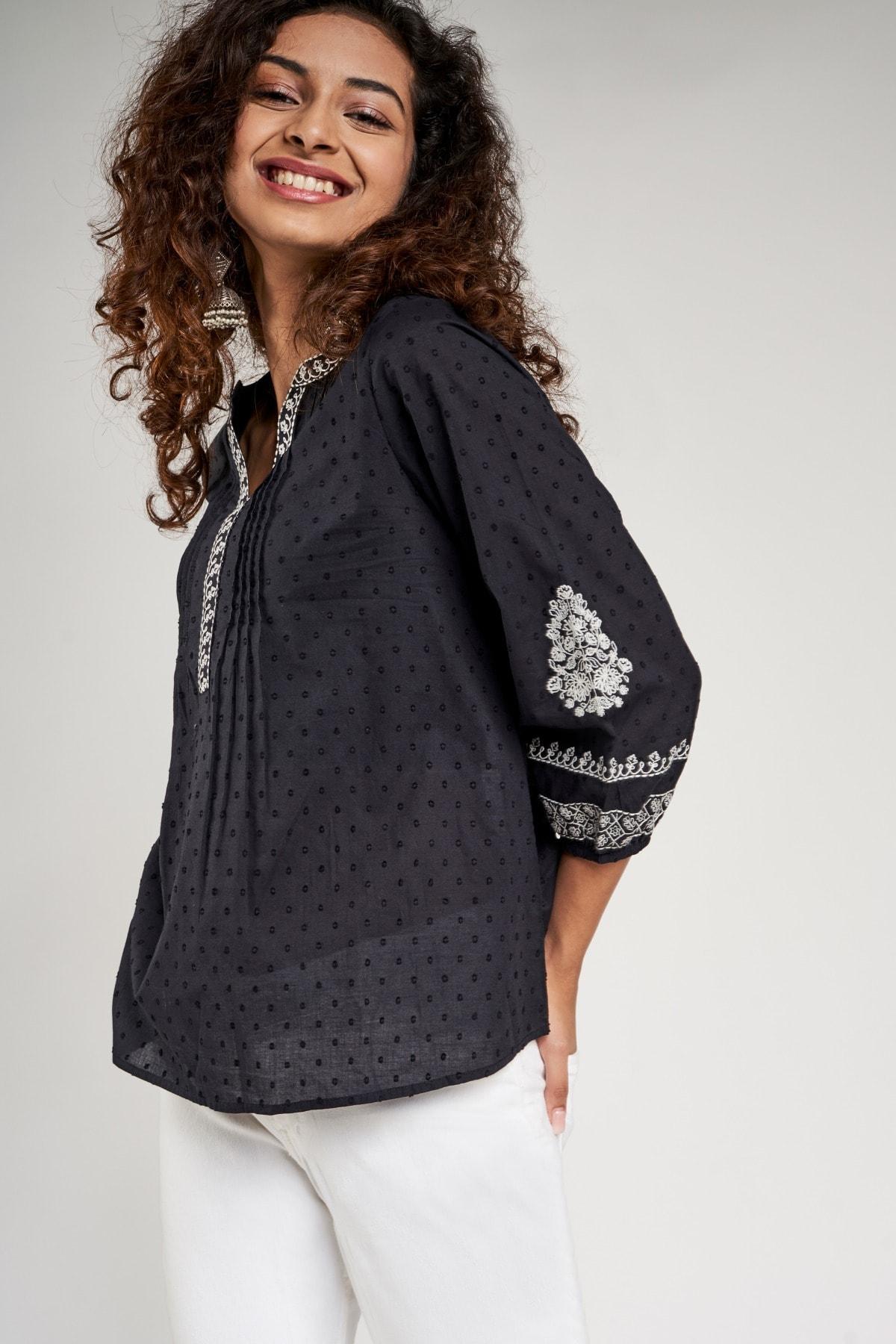 Global Desi | Black Self Design Embroidered A-Line Top