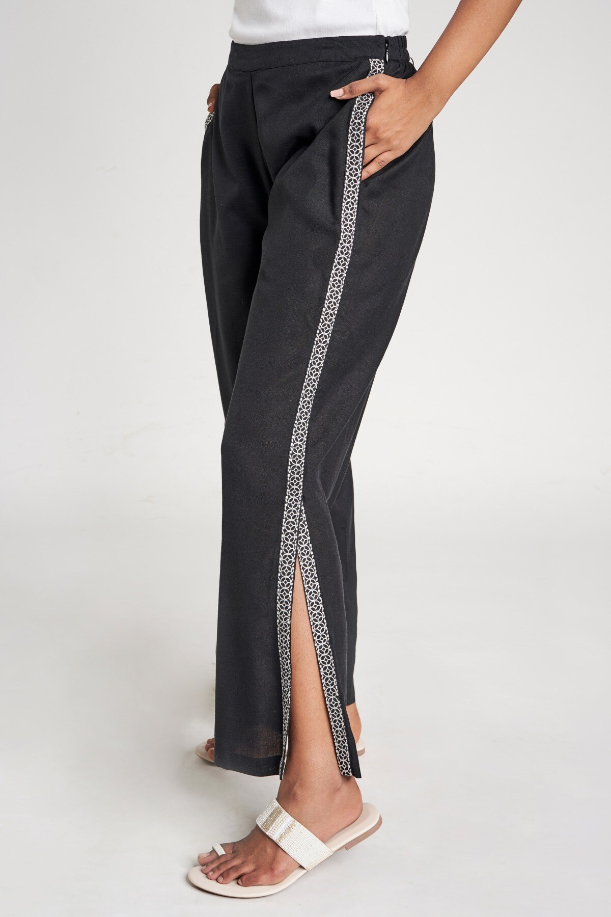 Global Desi | Black Solid Embroidered Bottom