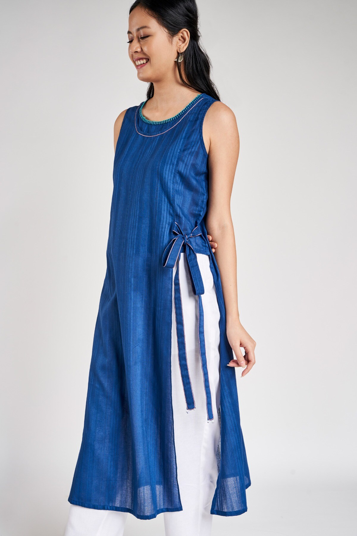 Global Desi | Ink Blue Self Design A-Line Kurta