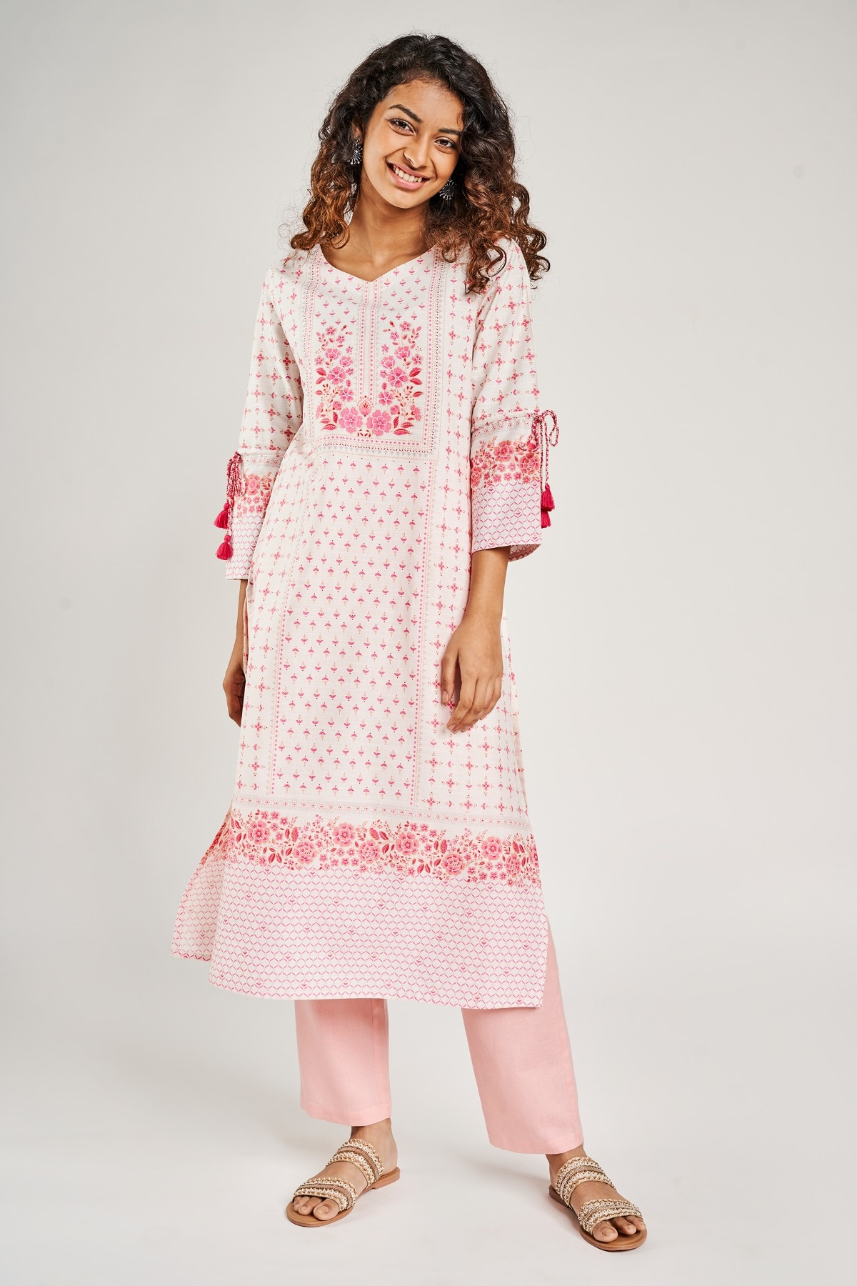 Global Desi | Pink Printed Slip-On Kurta