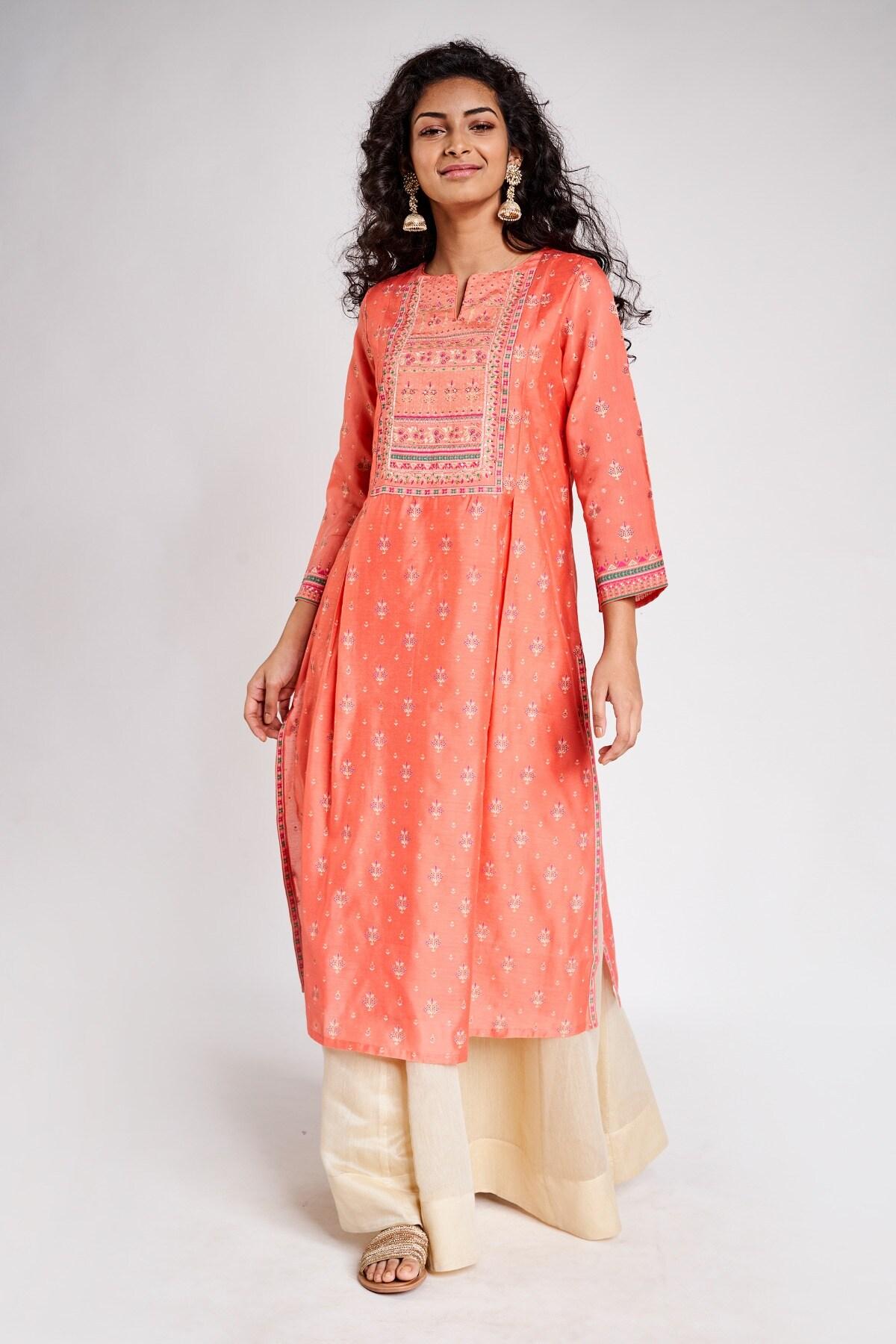Global Desi | Pink Embroidered Round Neck Kurta