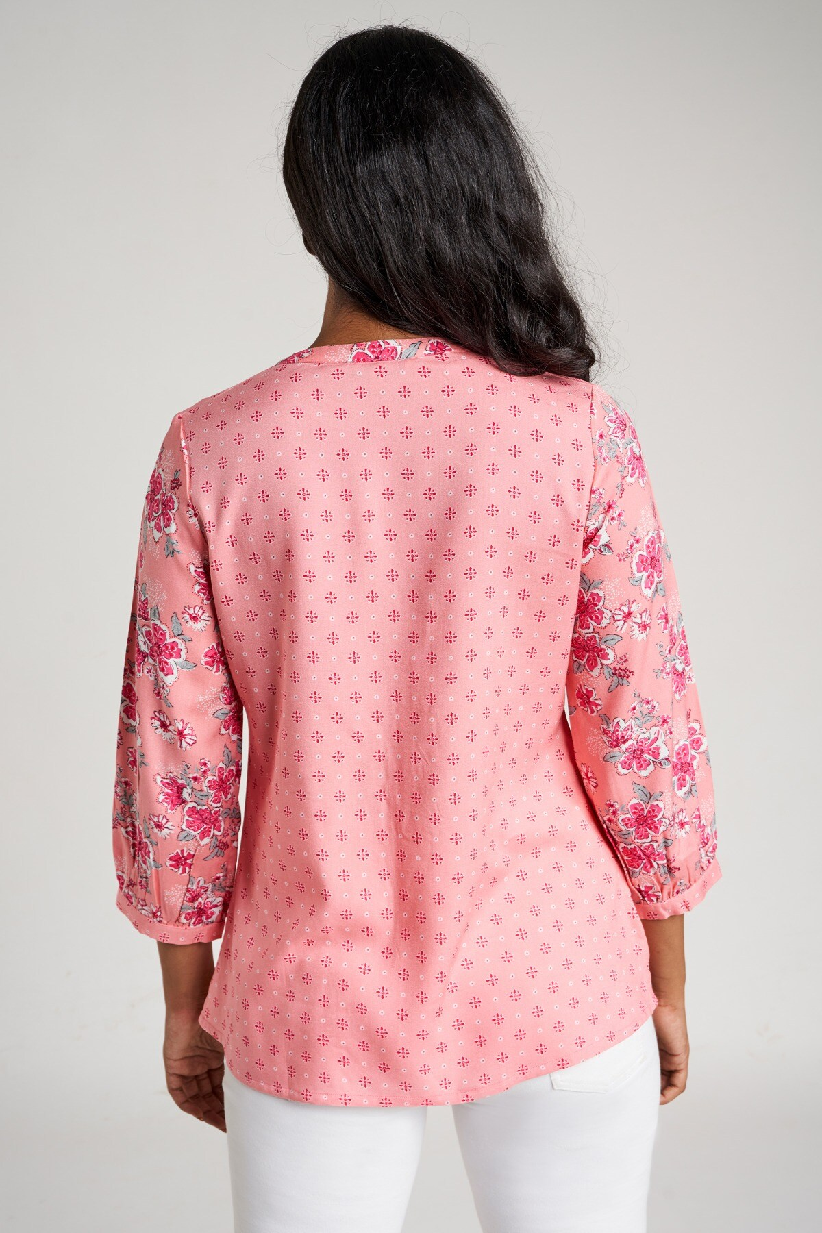 Global Desi | Pink Floral Embroidered Top