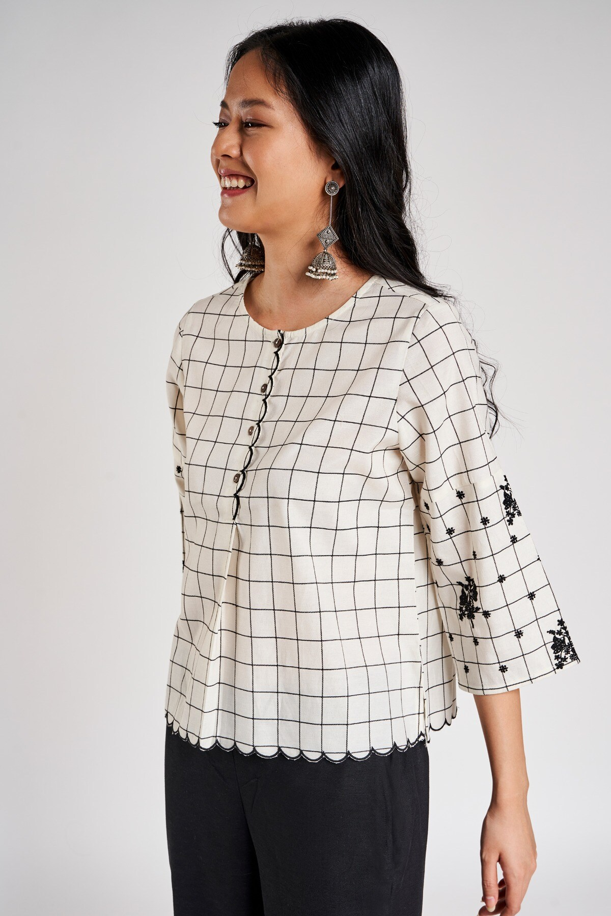 Global Desi | Natural Checked Embroidered Cropped Top