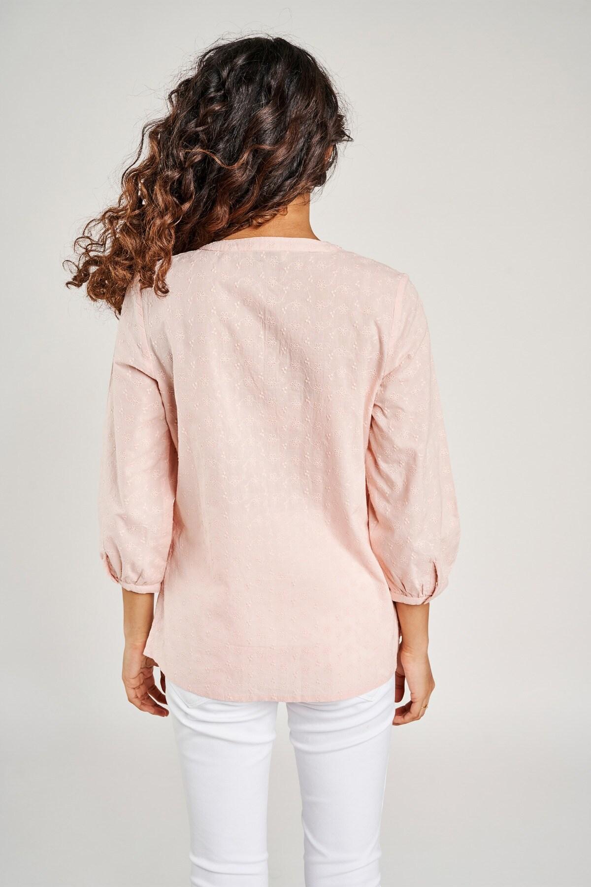 Global Desi | Pink Self Design Embroidered Tie-Up Top