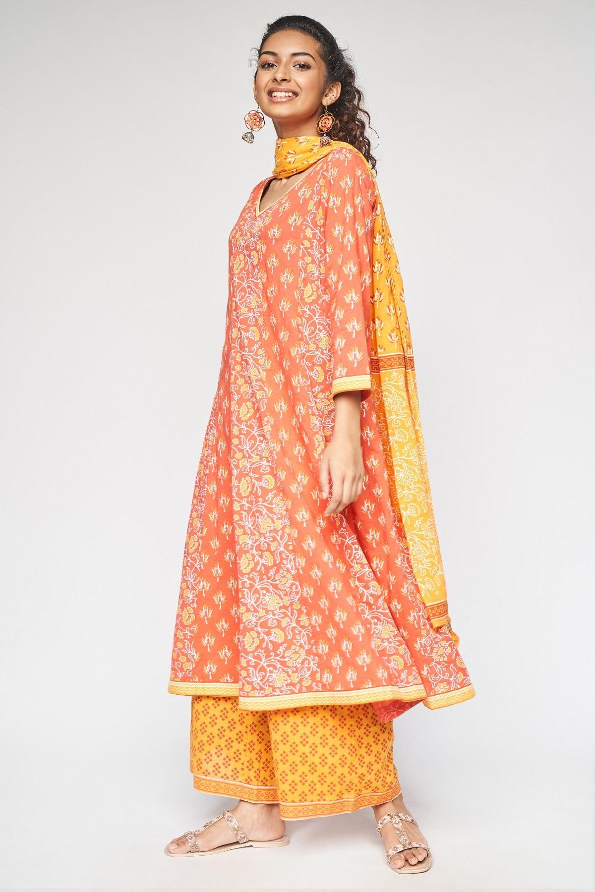 Global Desi | Red Floral Printed Flared Wide-Leg Set