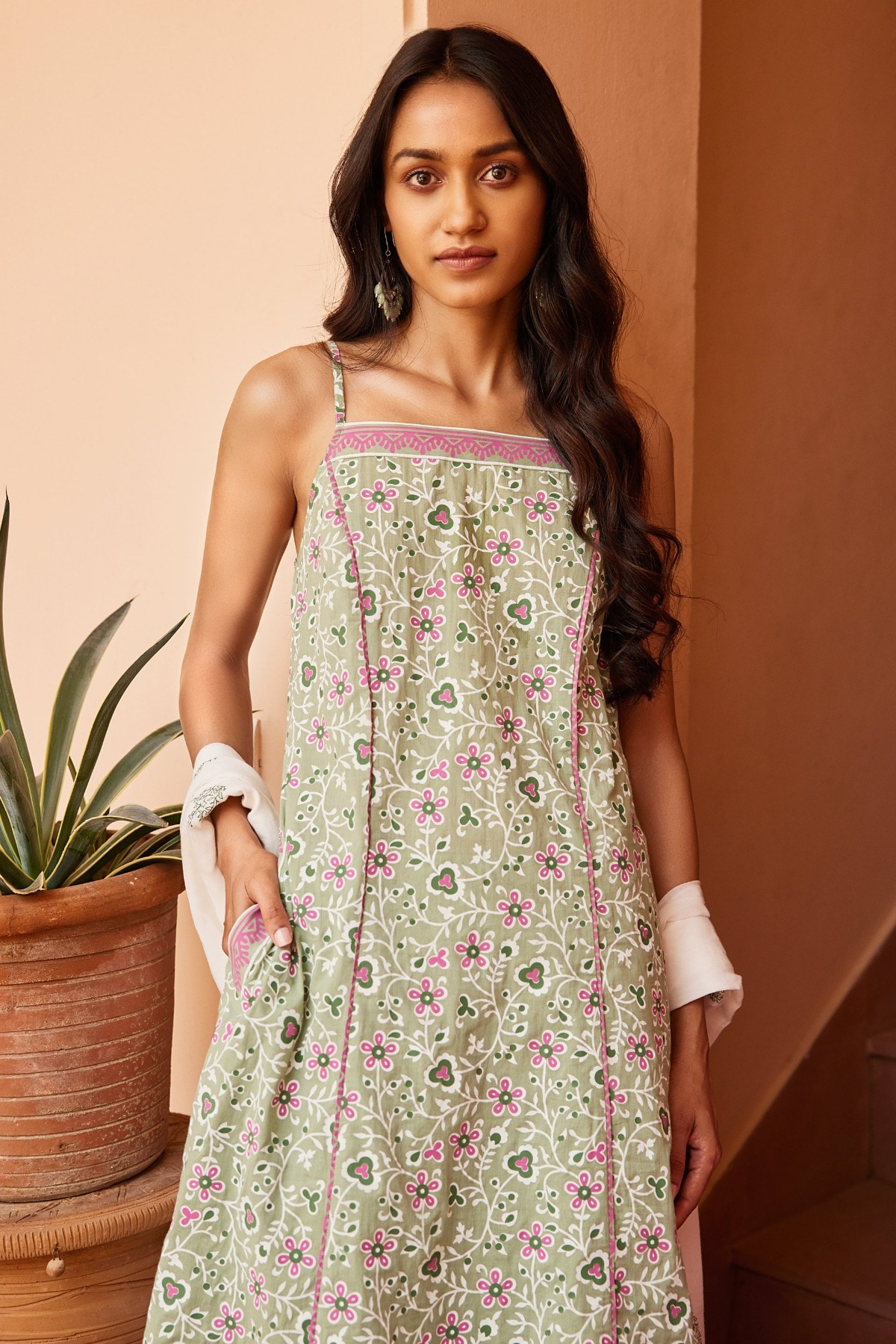 Global Desi | Sage Green Lace Straight Suit