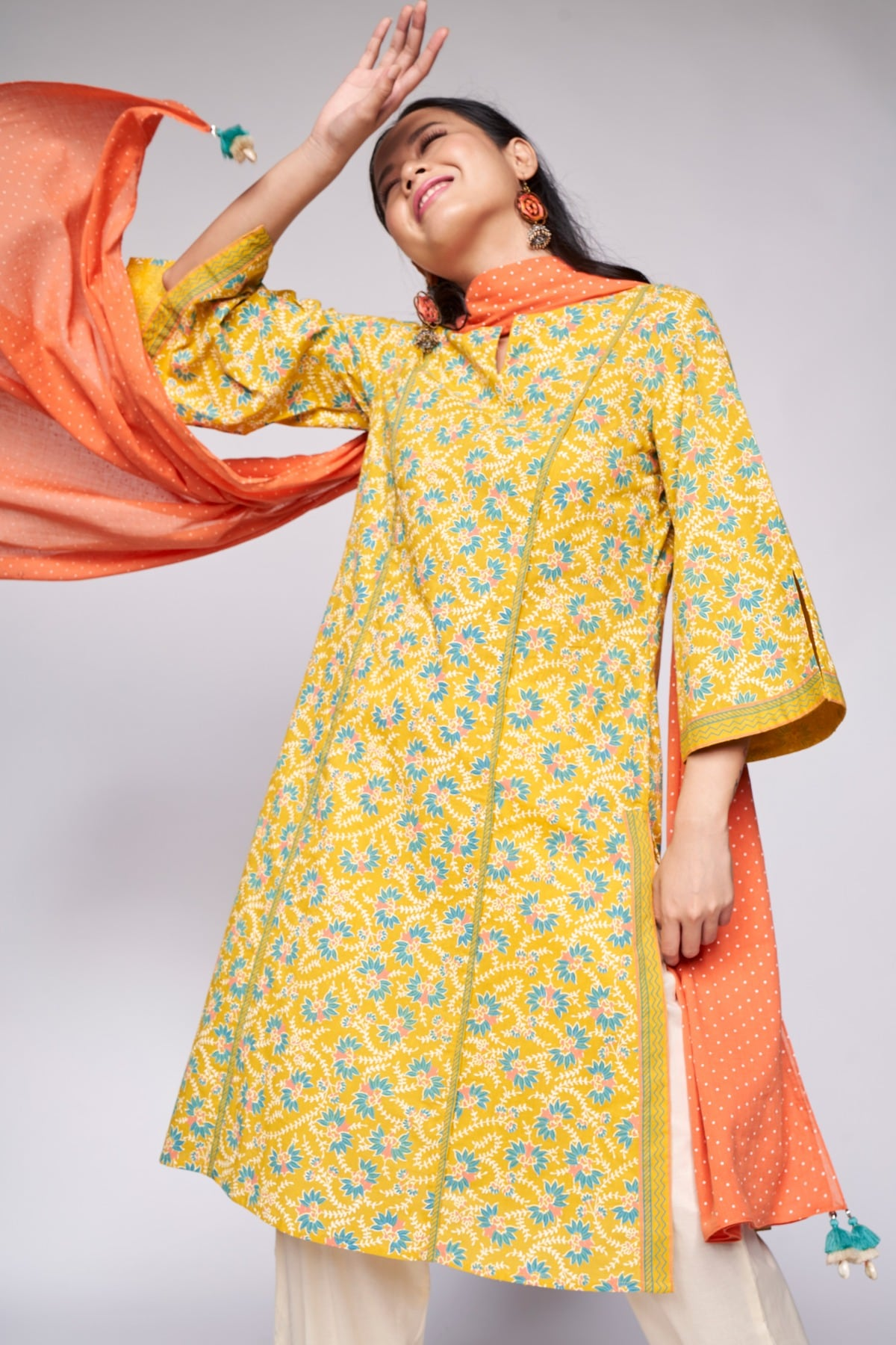 Global Desi | Yellow Embroidered Straight Suit
