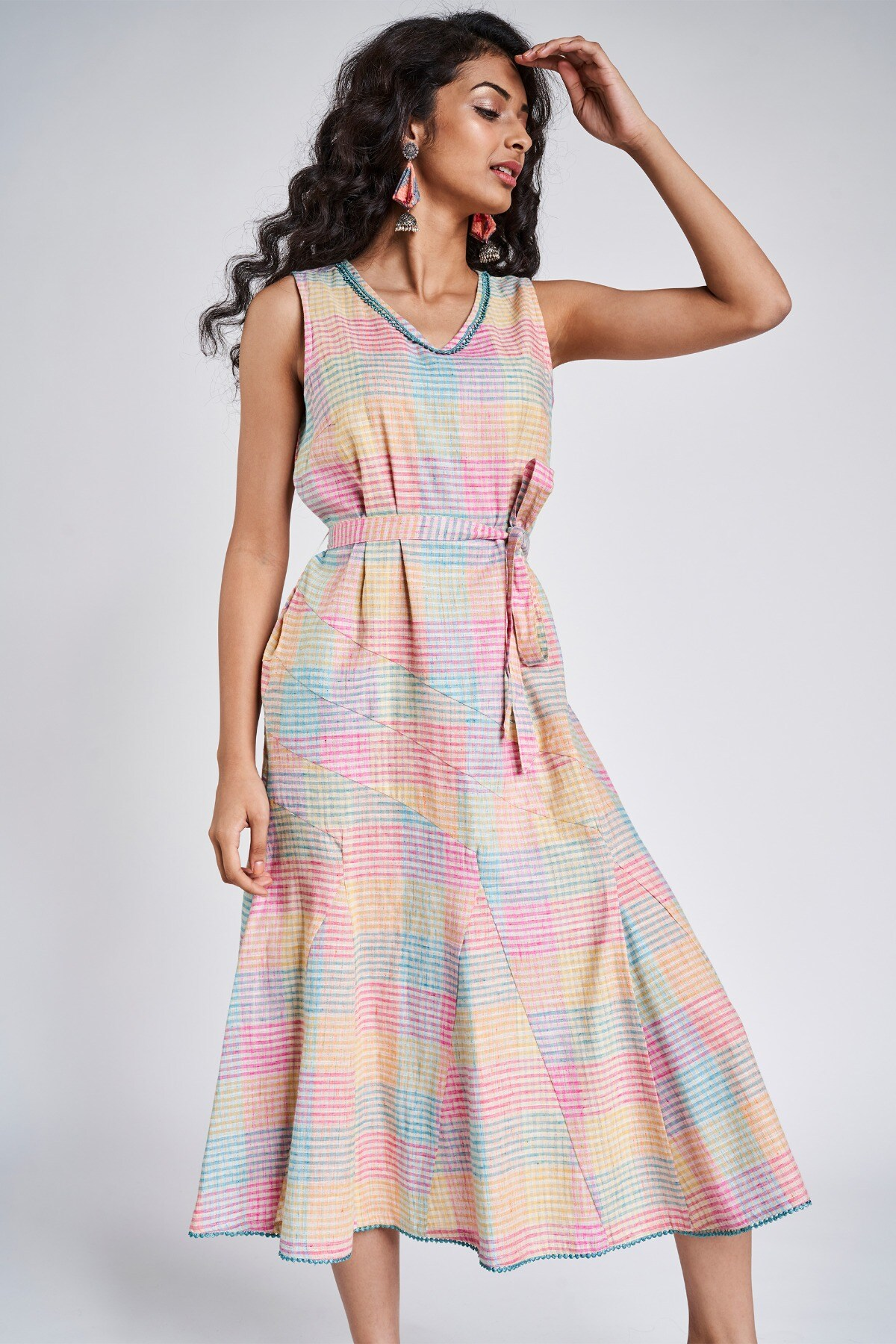 Global Desi | Multi Color Checks Fit And Flare Dress